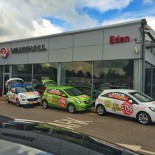 Eden Vauxhall front of showroom with three cars