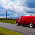Red Camper Van On The Road Christchurch