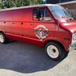 Red Camper Van With Side Door Crest Fareham